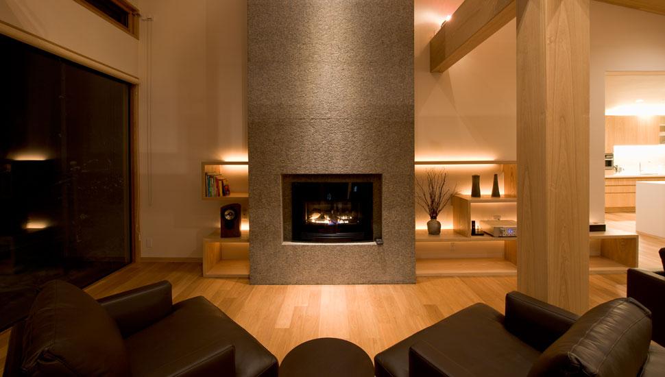 リビングルームの暖炉
