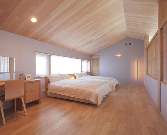 三角屋根を生かしたベッドルーム。落ち着いた色合いの壁紙でリラックスできる空間に。