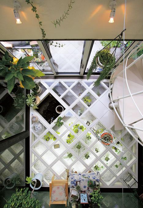 コンサバトリーを2階から見下ろす