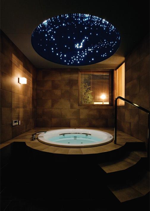 浴室に設置されたプラネタリウム